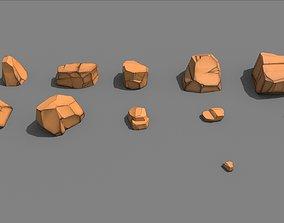 Cartoon Rock Styled set PBR 3D model