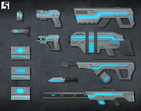 3D model Toon Sci-fi Weapons pack