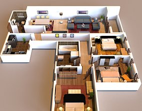 bird 3D interior flat design