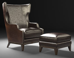 Forbes wing back chair and ottoman 3D model