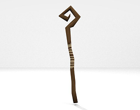 3D asset Low poly swirly mage staff