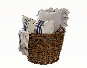 Pillows in basket 3D model