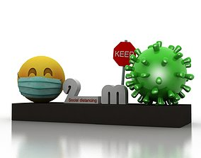3D asset game-ready Coronavirus awareness and protection