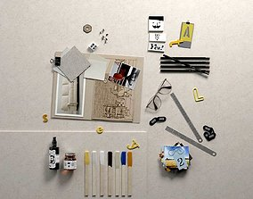 3D Composition Pictures Office Supplies Oil and Glasses