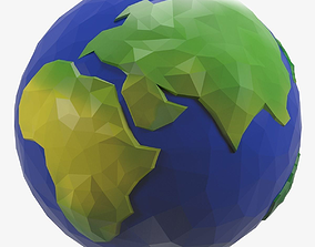Earth Low Poly Style Cartoon 3D asset