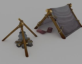 3D model VR / AR ready architectural low poly tent