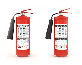 3D Fire Extinguisher - English and Arabic instructions