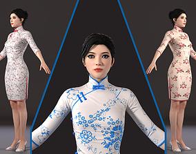 3D model Asian woman Chinese dress beauty