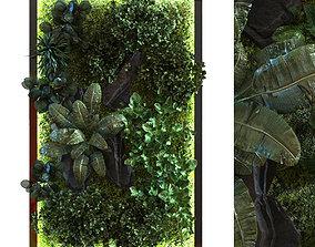 3D asset green wall set 054