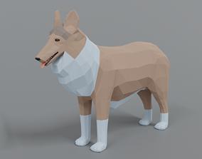3D asset Low Poly Cartoon Rough Collie Dog
