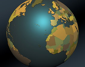 Political map earth globe with 3D model