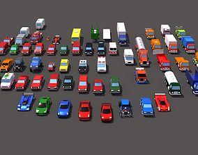 63 lowpoly vehicles 3D model