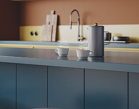 Colourful Nordic Kitchen for Cinema 4D and Corona 3D model