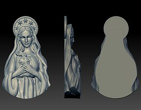 Virgin Mary Half body thin for pendant 3D print model