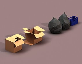 Post Apocalyptic Cardboard Box and Garbage 3D asset