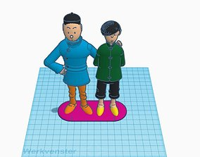 3D printable model Tintin and Tchang from the Blue Lotus