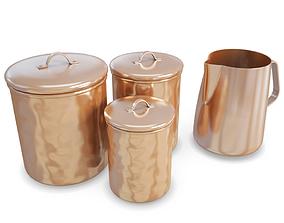 3D Kitchen Copper Pots