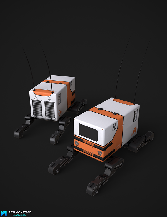 a small pbr dilevery bot  game asset