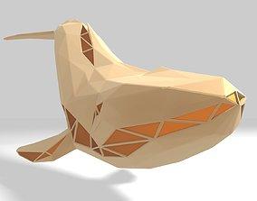 3D printable model Polygonal Blue Whale Parametric