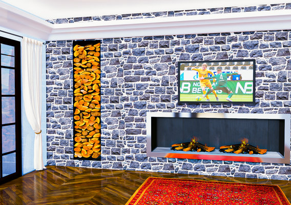 Fireplace in a wall in natural cut stones