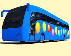3D Blue Balloon Bus 6
