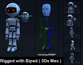 3D asset Robot Rigged with Biped