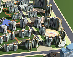 Urban Cityscape with Water Decor 3D model