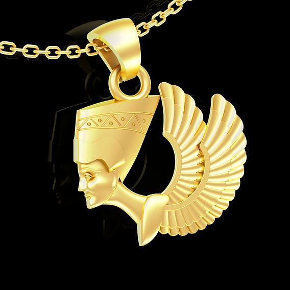Nefertiti Wings Egyptian symbol pendant jewelry gold necklace 3D print model