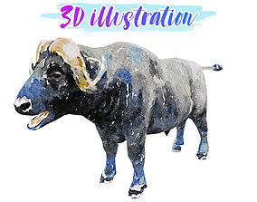 3D model Low Poly Buffalo Illustration Animated - Game