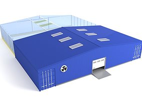 3D model Industrial hangar and greenhouse
