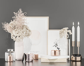 Decorative set with hydrangea and pampas grass 3D
