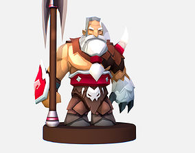 Handpaint Cartoon Man Viking MMO rpg Character 3D model