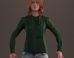 3D asset Rigged red haired lady in casual attire