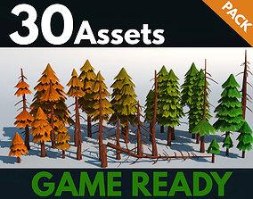 3D asset Fir trees pack 03