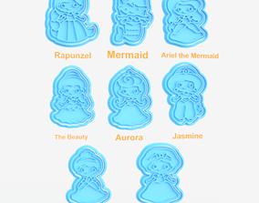 3D print model Disney princess cookie cutter set of 8