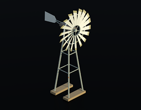 industrial Windmill 3D asset low-poly