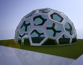 3D Large dome with frame and glass panels