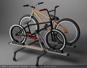 3D asset realtime roof rack with bmx and mtb bikes