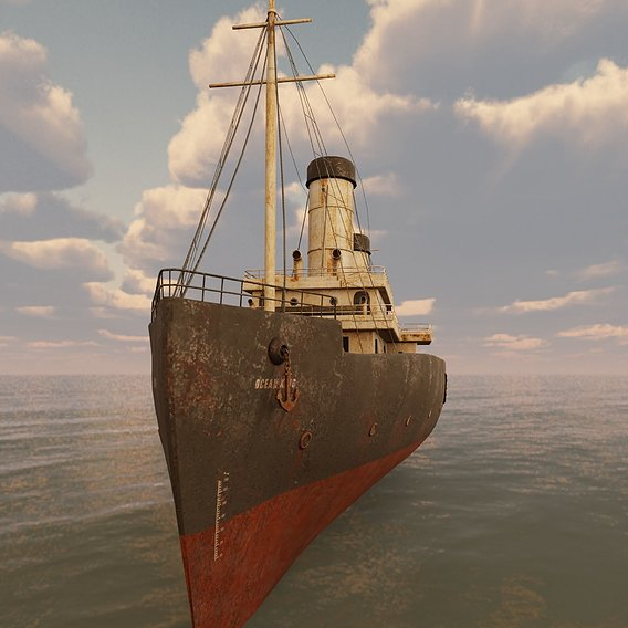 Passenger Steam Ship Game ready model