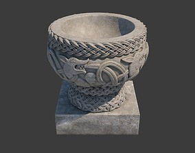 3D model Church Furniture - Stone Baptismal Font 02 Norman
