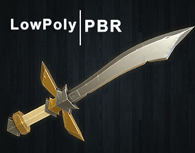 Stylized Sword Low Poly 3D asset low-poly