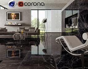 3D model Bkack Marble Living in cinema 4D and Corona