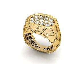 3D printable model Gents Diamond Nugget Ring 13