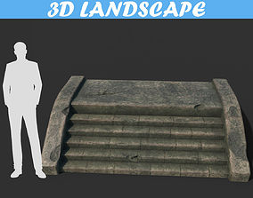 3D asset Low poly Ruin Stair 181116 - Game Ready