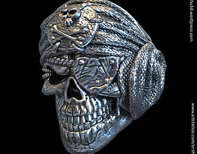 Pirate skull vol1 ring 3D print model