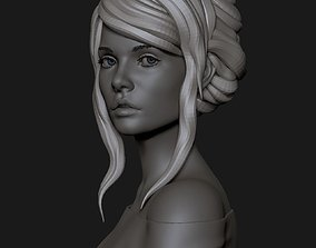 3D model portrait of a cute girl